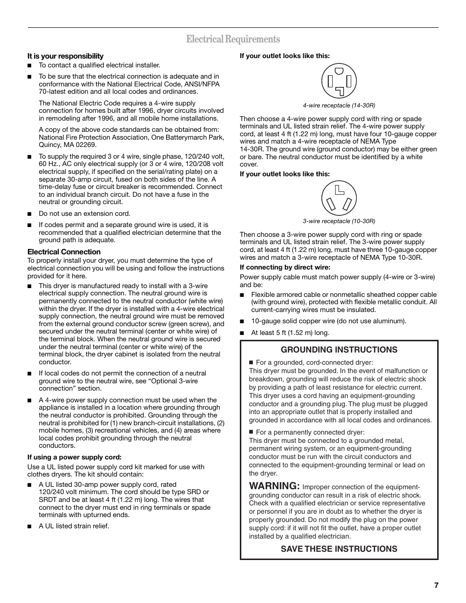 Electrical requirements, Warning, Grounding instructions save these ...