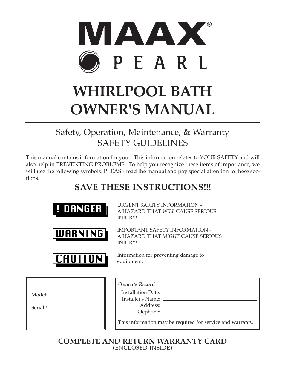 Whirlpool Maax Pearl Hot Tub User Manual | 16 pages