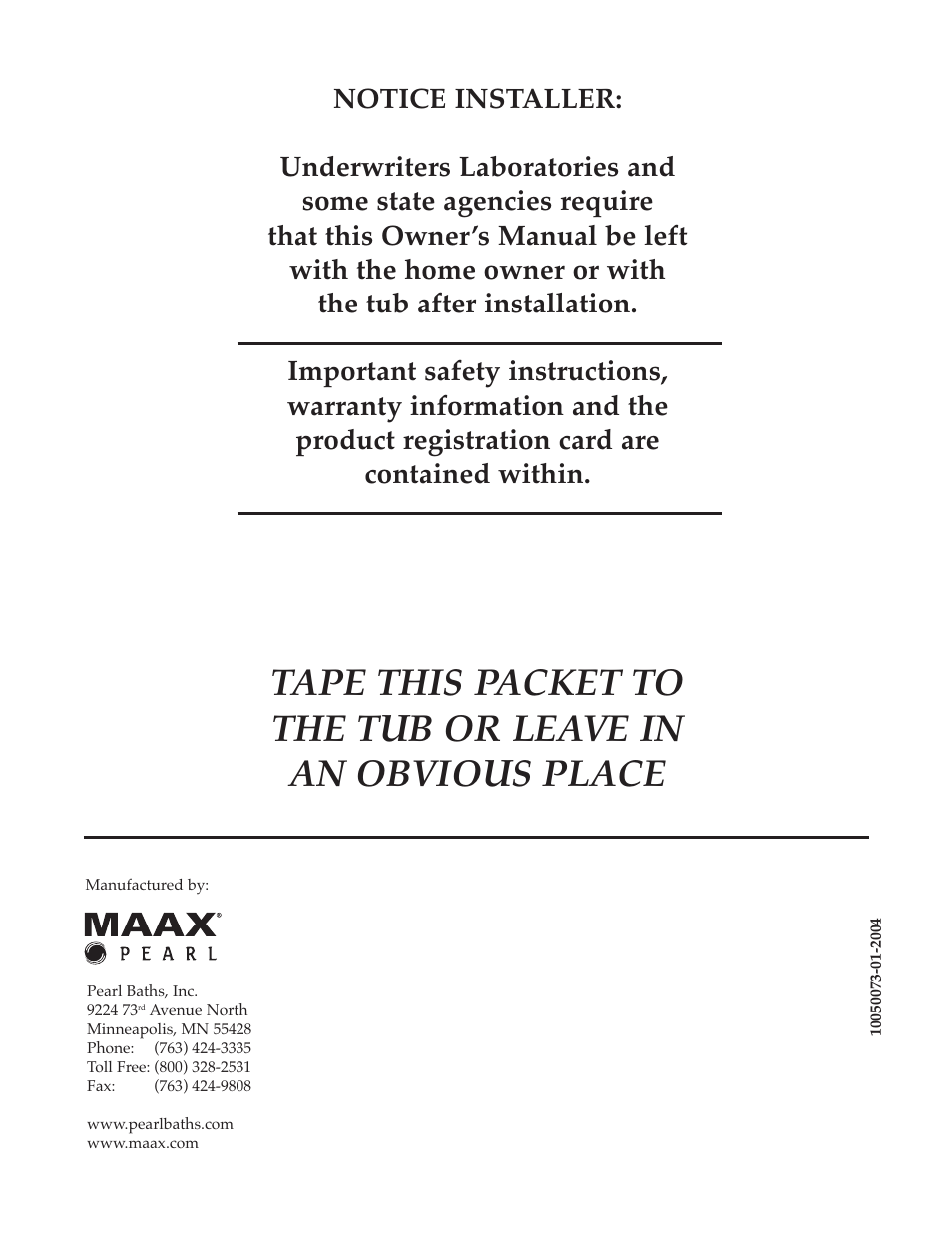 Whirlpool Maax Pearl Hot Tub User Manual | Page 16 / 16