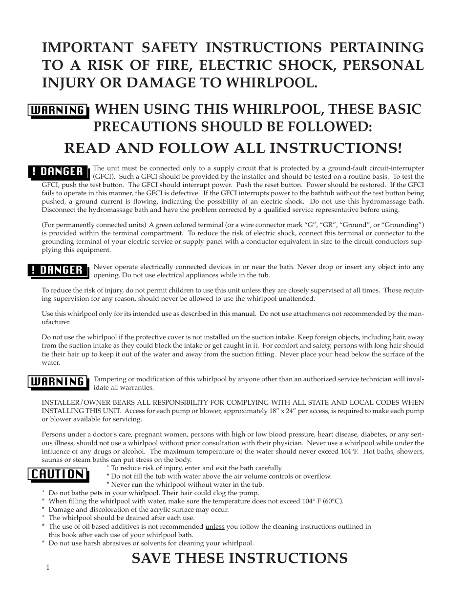 Save These Instructions Whirlpool Maax Pearl Hot Tub