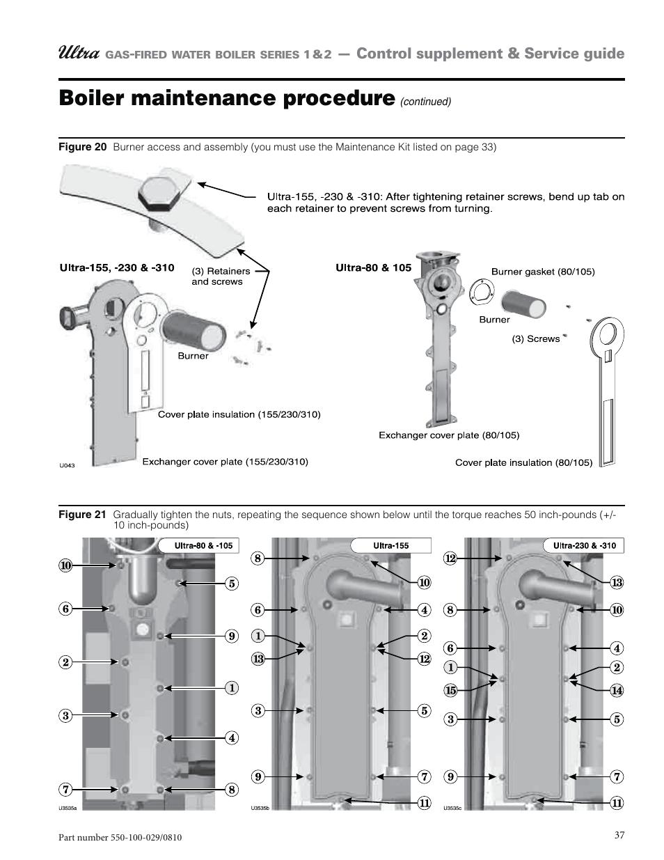 Boiler maintenance procedure, Control supplement & service guide | Weil- McLain ULTRA 230 User