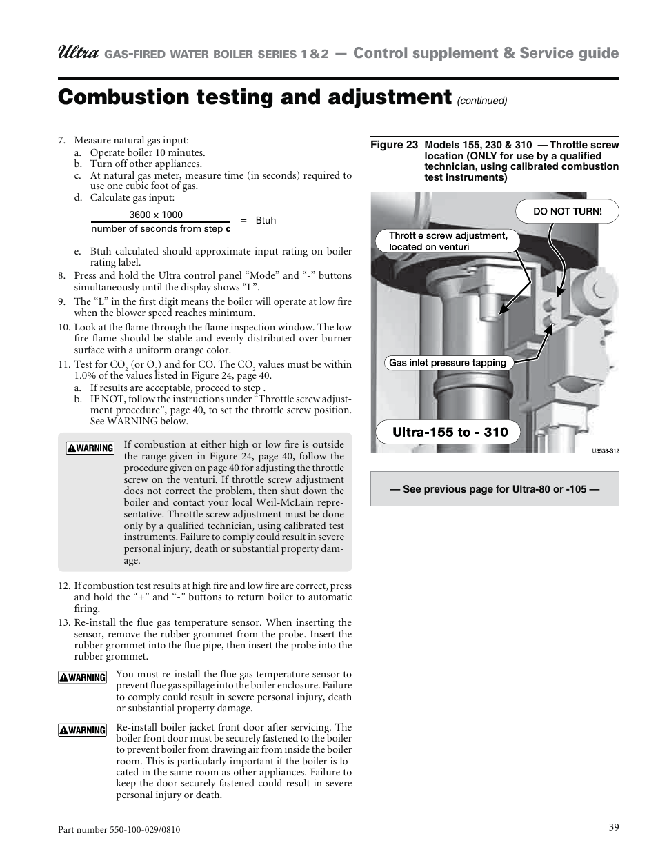 Combustion testing and adjustment, Control supplement & service ...