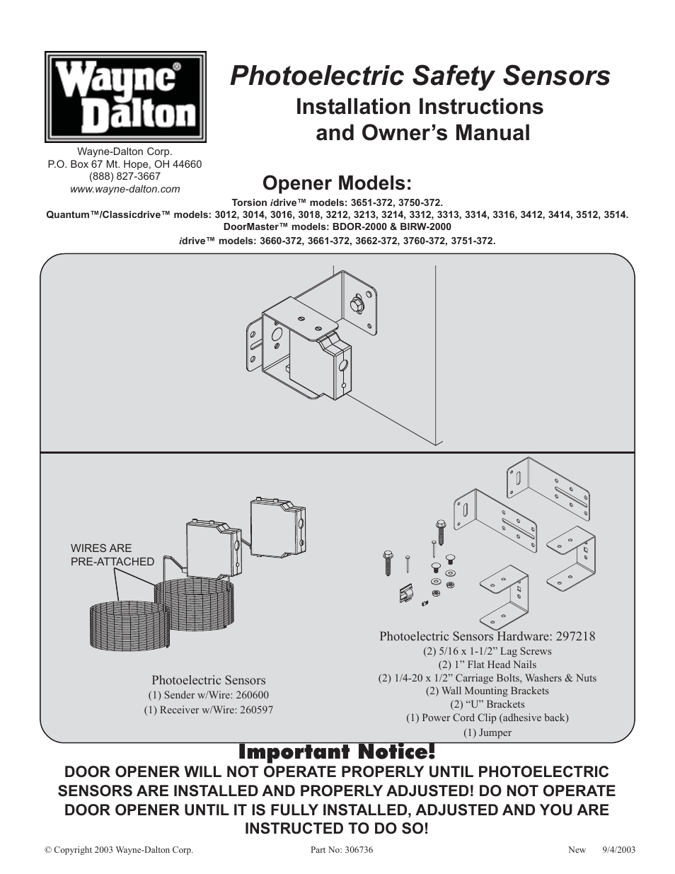 Wayne Dalton 3014 User Manual 7 Pages Also For 3651