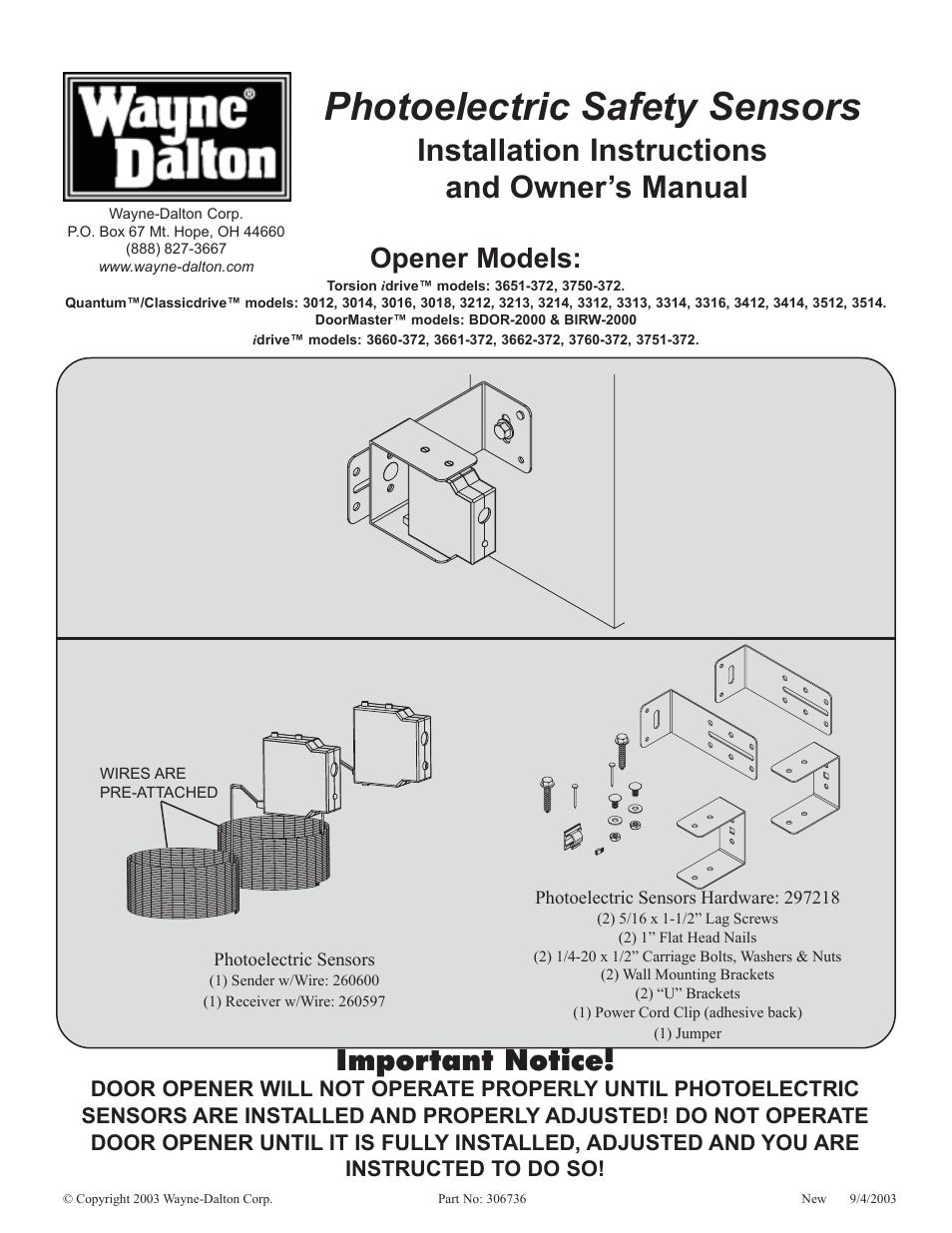 Wayne Dalton Classic Drive Garage Door Opener Manual