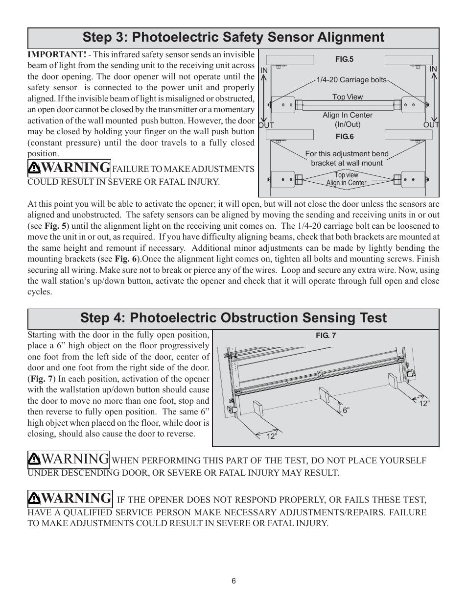 Warning Wayne Dalton 3014 User Manual Page 6 7