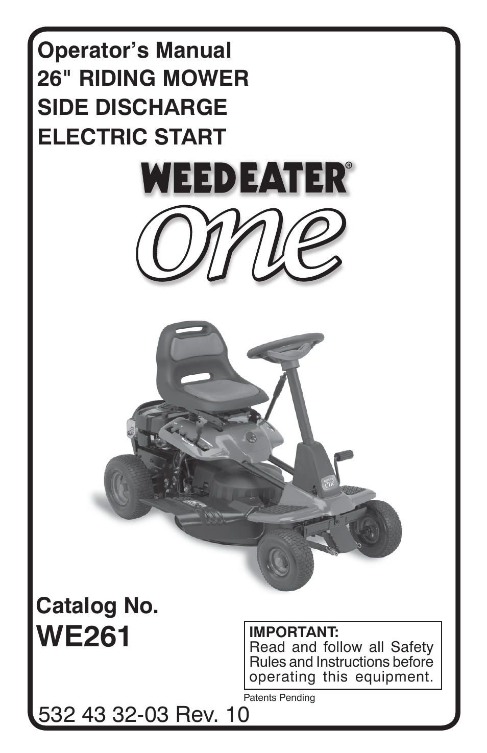Weed Eater One We261 User Manual 40 Pages