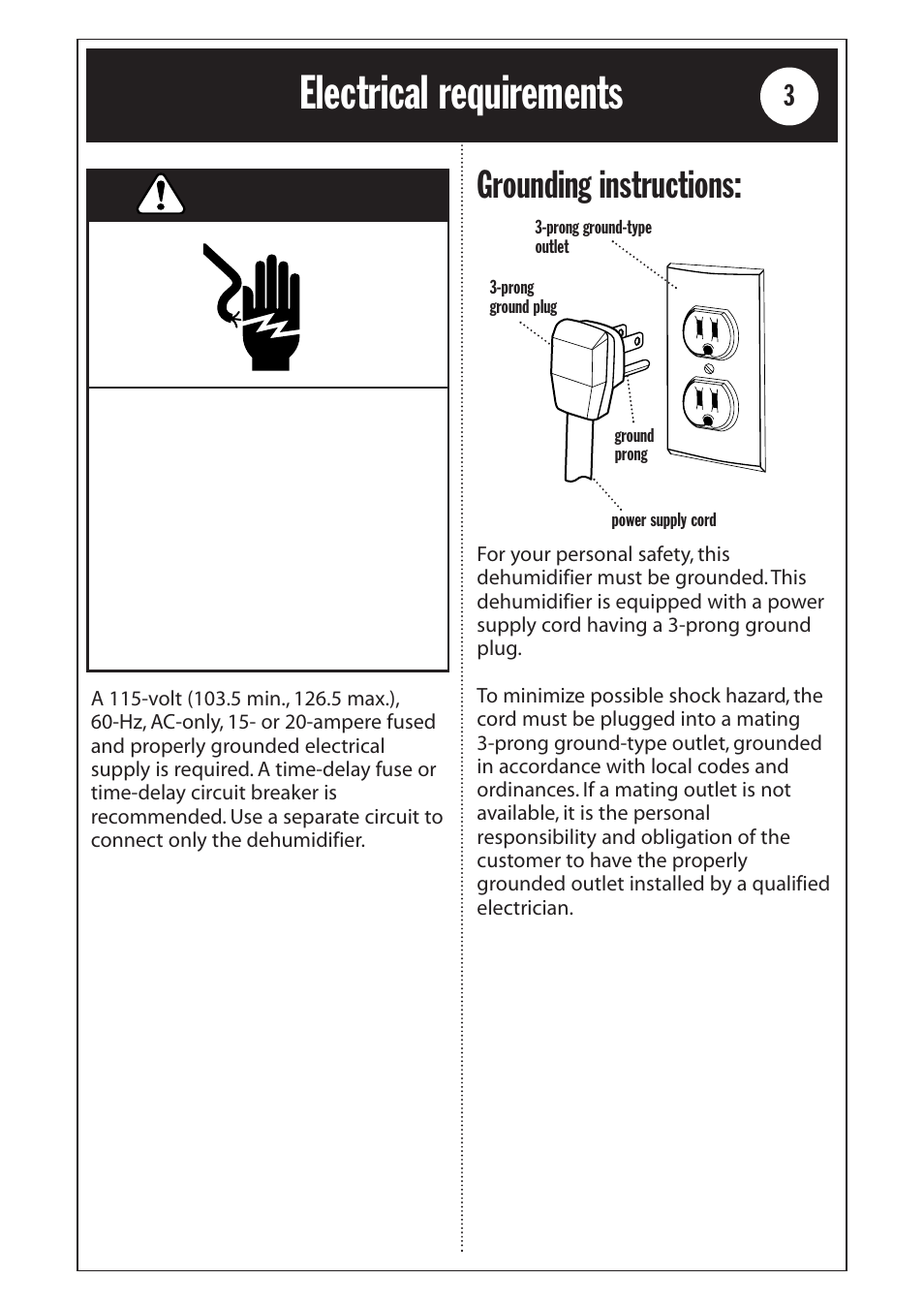 Electrical Requirements Warning Grounding Instructions Whirlpool Timedelaycircuit 1185020 User Manual Page 3 24