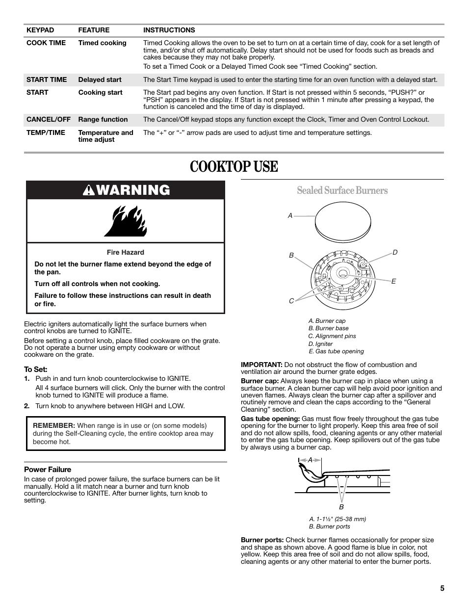 cooktop use warning sealed surface burners whirlpool wfg361lvs rh manualsdir com Whirlpool Dryer Manual Whirlpool Quiet Partner II