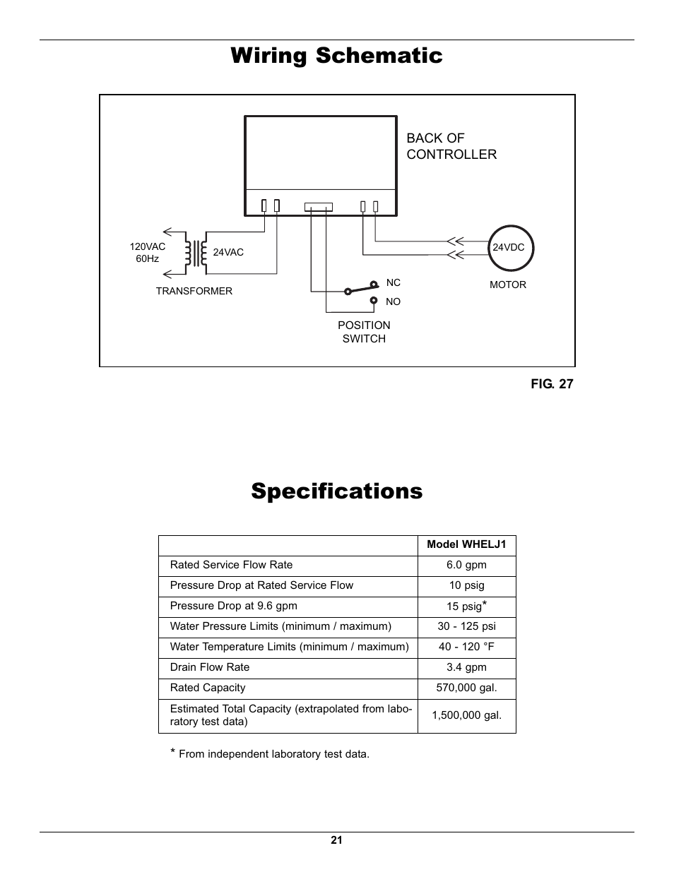 Wiring Schematic  Specifications