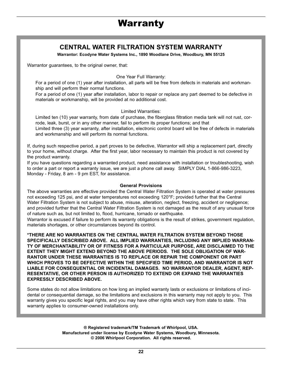 Warranty Central Water Filtration System Warranty
