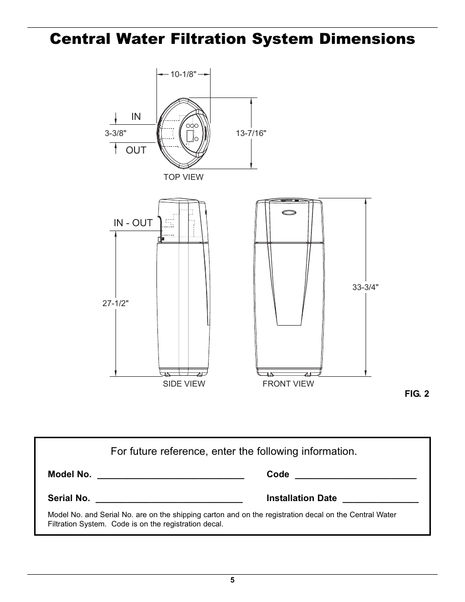 Central Water Filtration System Dimensions Whirlpool Whelj1 User Manual Page 5 27