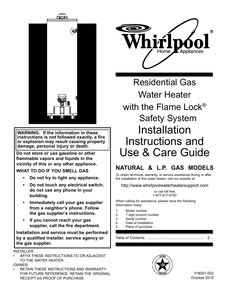 whirlpool residential gas water heater with the flame lock safety rh manualsdir com whirlpool gas water heater troubleshooting whirlpool gas water heater specs
