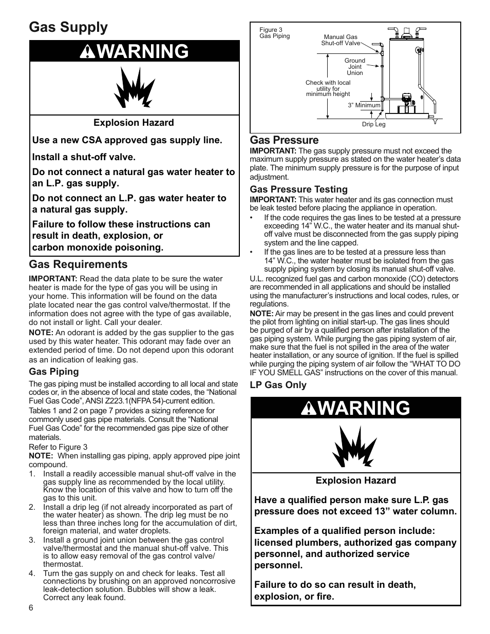 Warning Gas Supply Gas Requirements Whirlpool