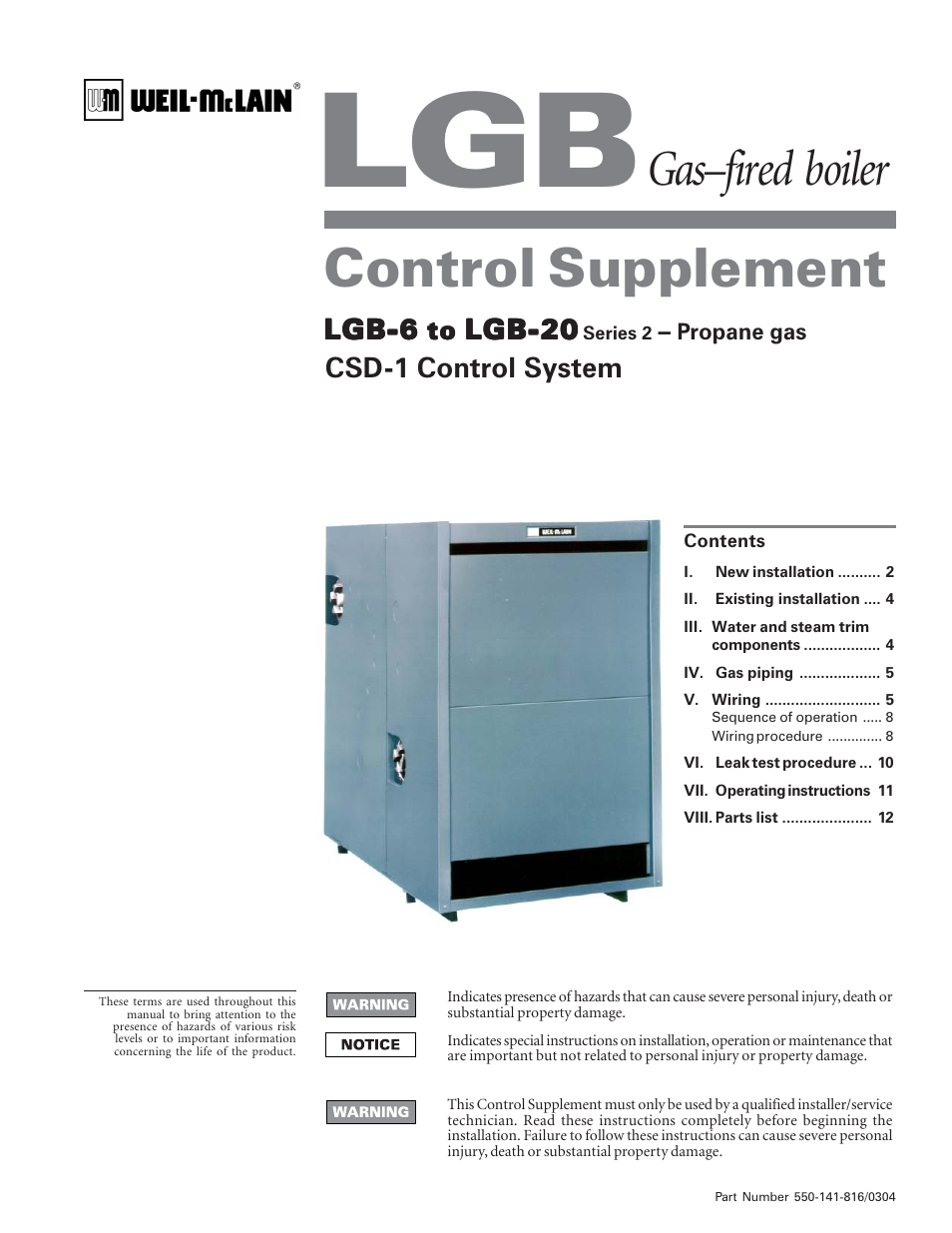 Weil-McLain LGB-6 User Manual | 12 pages