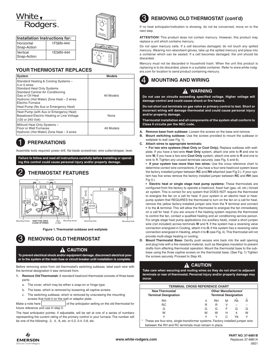 White Rodgers 1E56N-444 User Manual | 8 pages | Also for: 1F56N-444