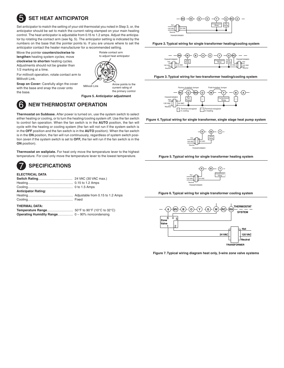 Set Heat Anticipator New Thermostat Operation Specifications Typical Wiring Diagram Data White Rodgers 1e56n 444 User Manual Page 2 8