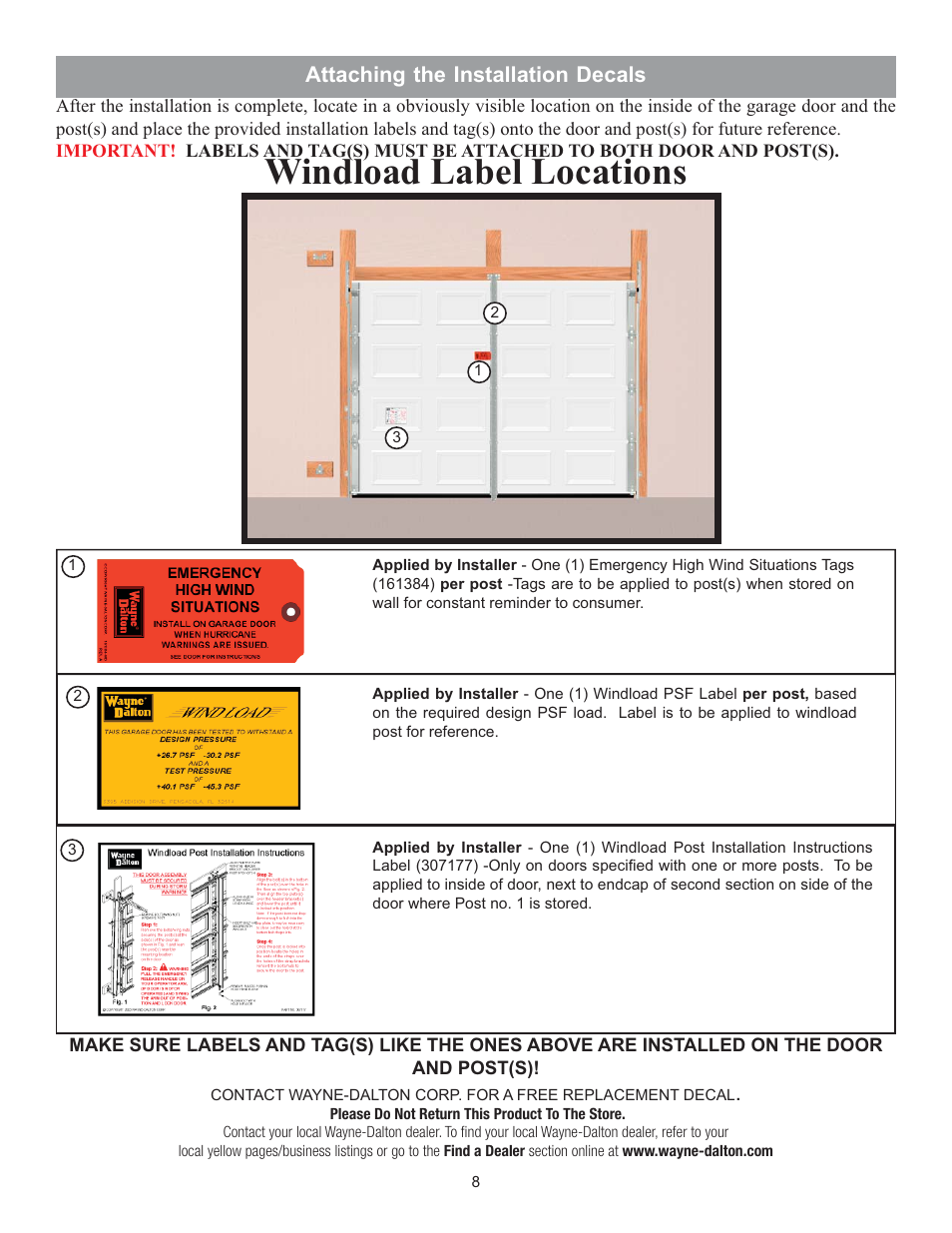 Windload Label Locations Attaching The Installation Decals Wayne