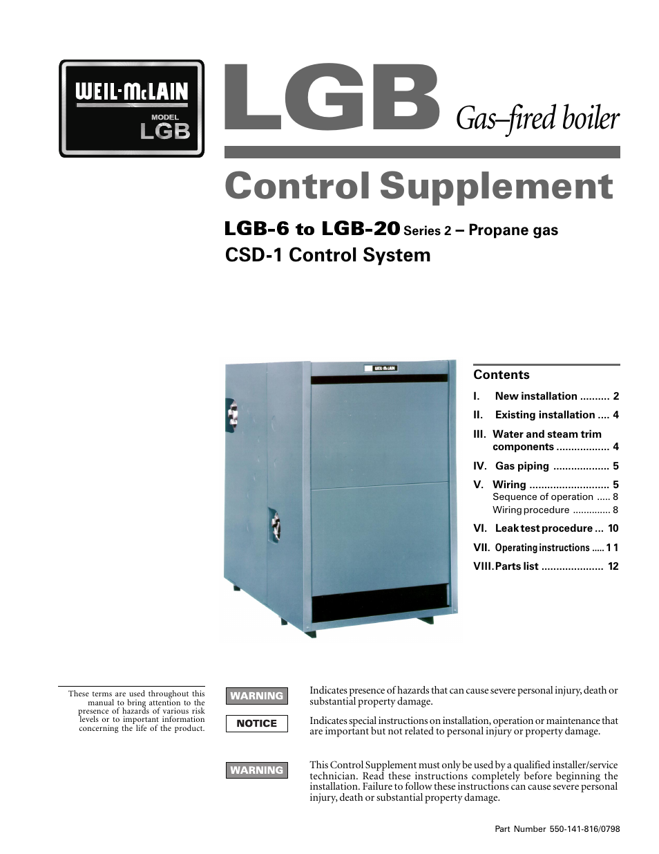 Weil-McLain LGB 6-20 Series User Manual   11 pages
