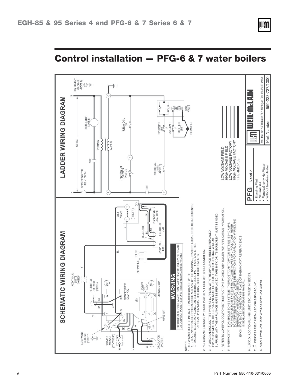 Control installation — pfg-6 & 7 water boilers | Weil-McLain PFG-7 User  Manual | Page 6 / 16