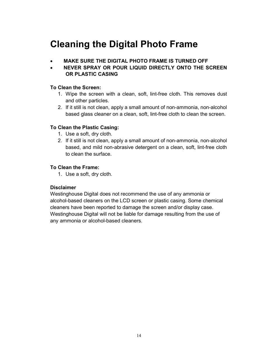 Cleaning the digital photo frame | Westinghouse DPF-0702 User Manual ...