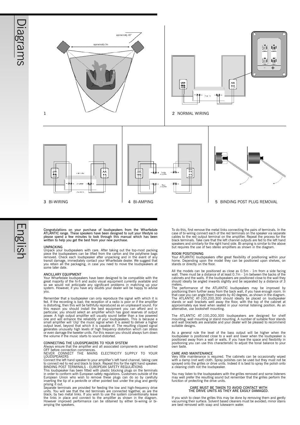 English Diagrams Wharfedale Atlantic At 100 User Manual Page 2 6 Bi Wiring Speakers Diagram