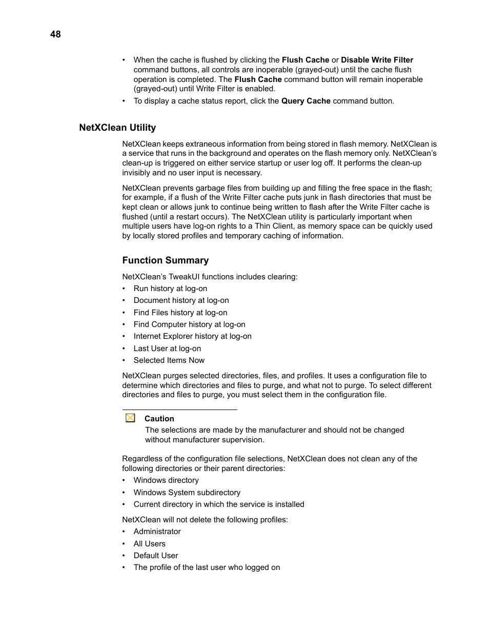 Netxclean utility, Function summary | Wyse Technology TM