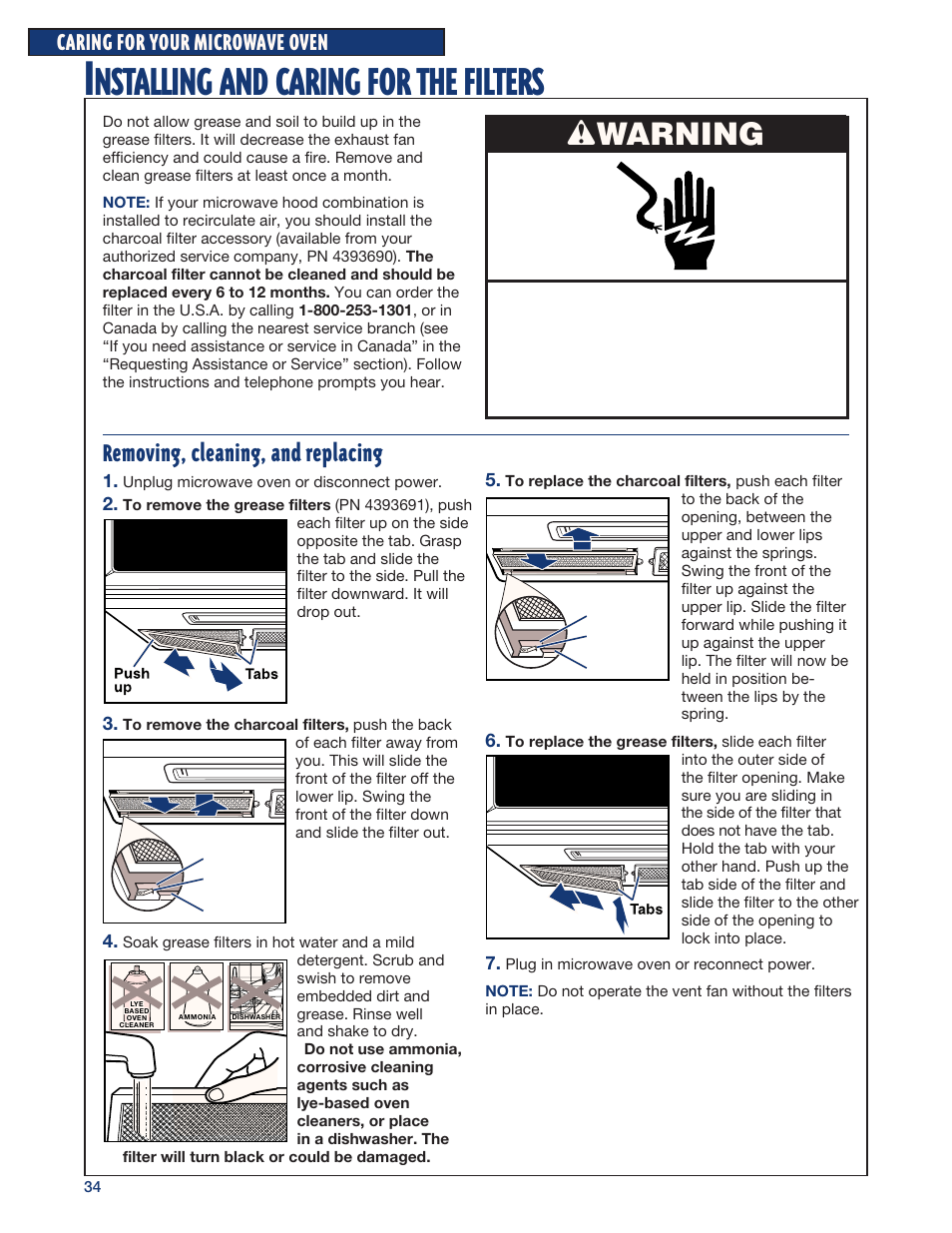 Nstalling, Caring, Filters | Whirlpool YMH6140XF User Manual | Page ...
