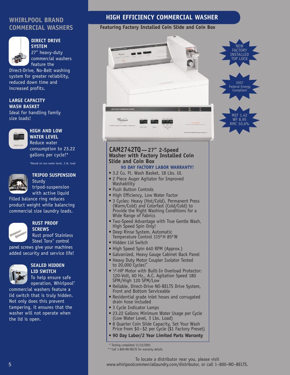 Whirlpool Cam2742tq User Manual 2 Pages