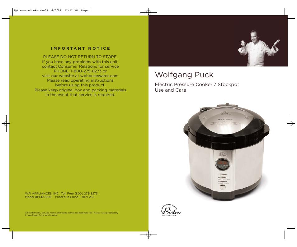 Wolfgang Puck Bpcr0005 User Manual 32 Pages