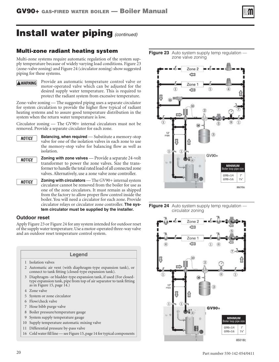 Install water piping, Gv90, Boiler manual | Weil-McLain GV90+ User Manual |