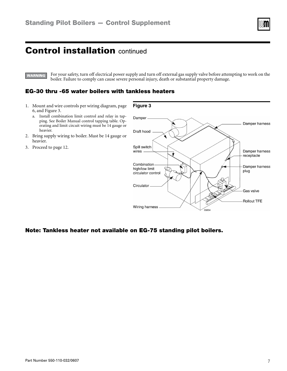 Control Installation  Standing Pilot Boilers  U2014 Control