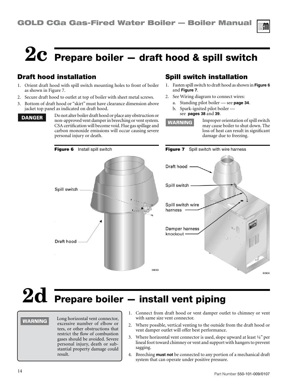 2c 2d, Prepare boiler — draft hood & spill switch, Prepare boiler ...