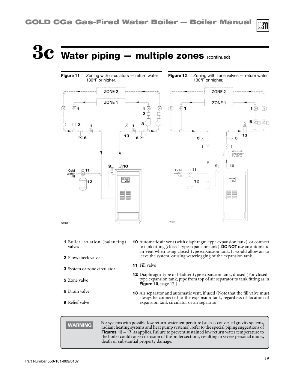 Water Piping Multiple Zones Gold Cga Gas Fired Boiler Weil Mclain Wiring Diagram Manual