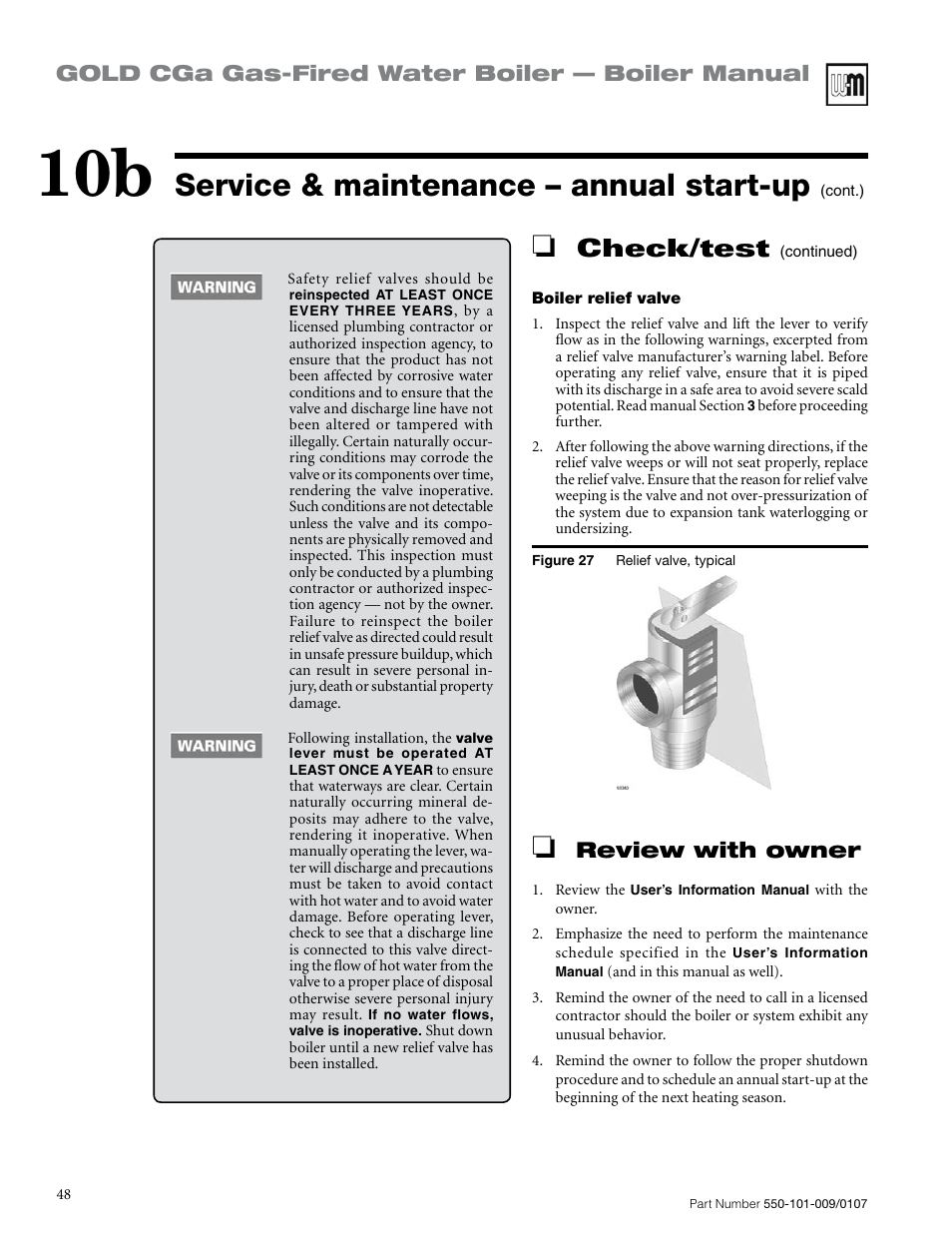 Service & maintenance – annual start-up, Check/test, Gold cga gas ...