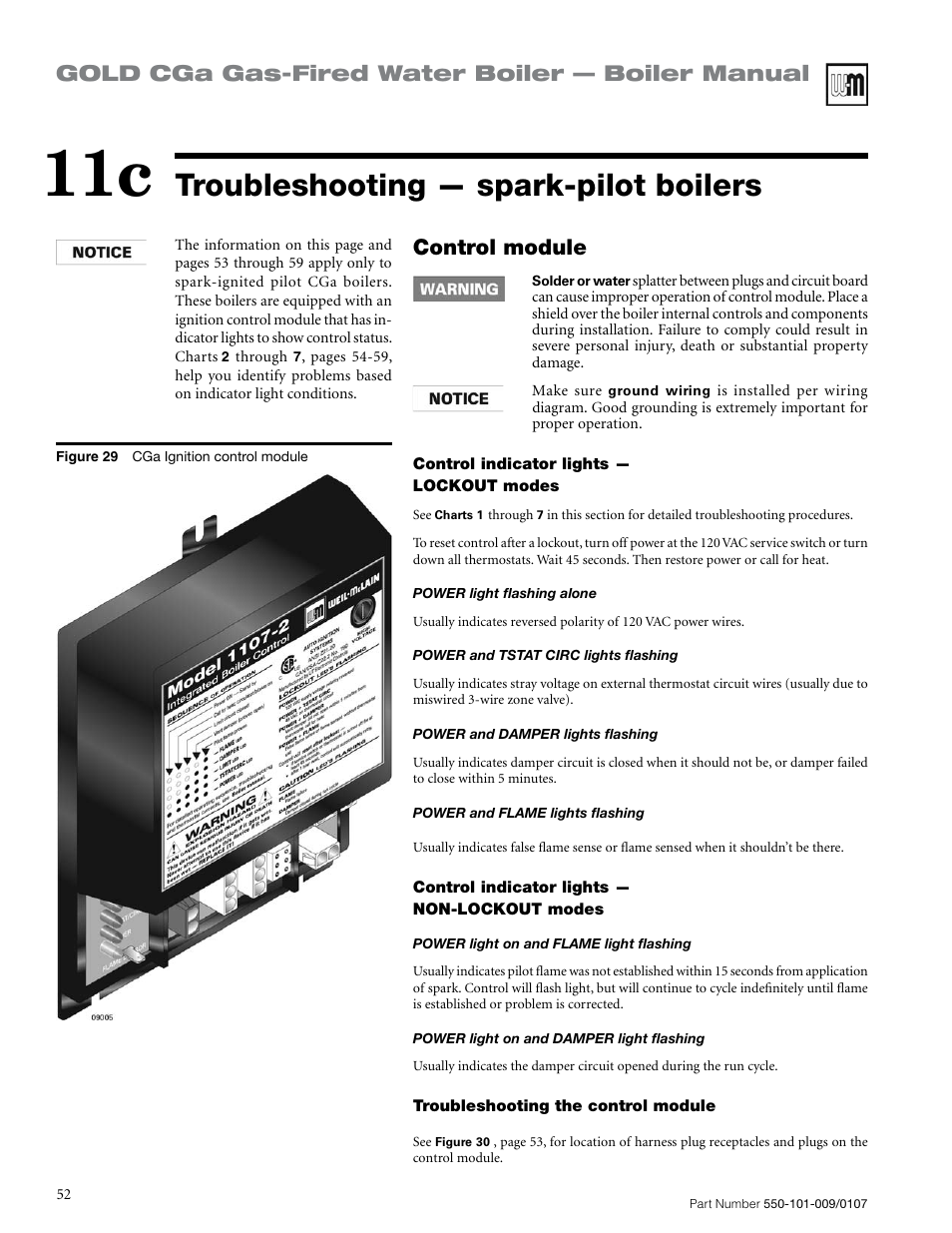 Troubleshooting — spark-pilot boilers, Gold cga gas-fired water ...