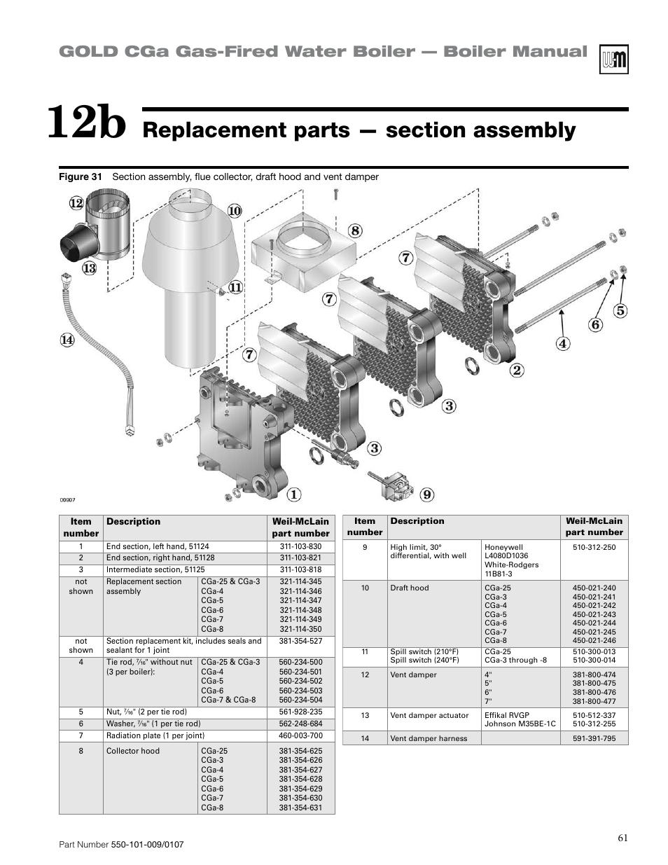 Gold cga gas-fired water boiler — boiler manual   Weil-McLain Gold ...