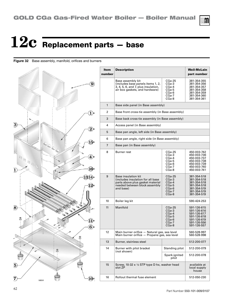 Replacement parts — base, Gold cga gas-fired water boiler — boiler ...