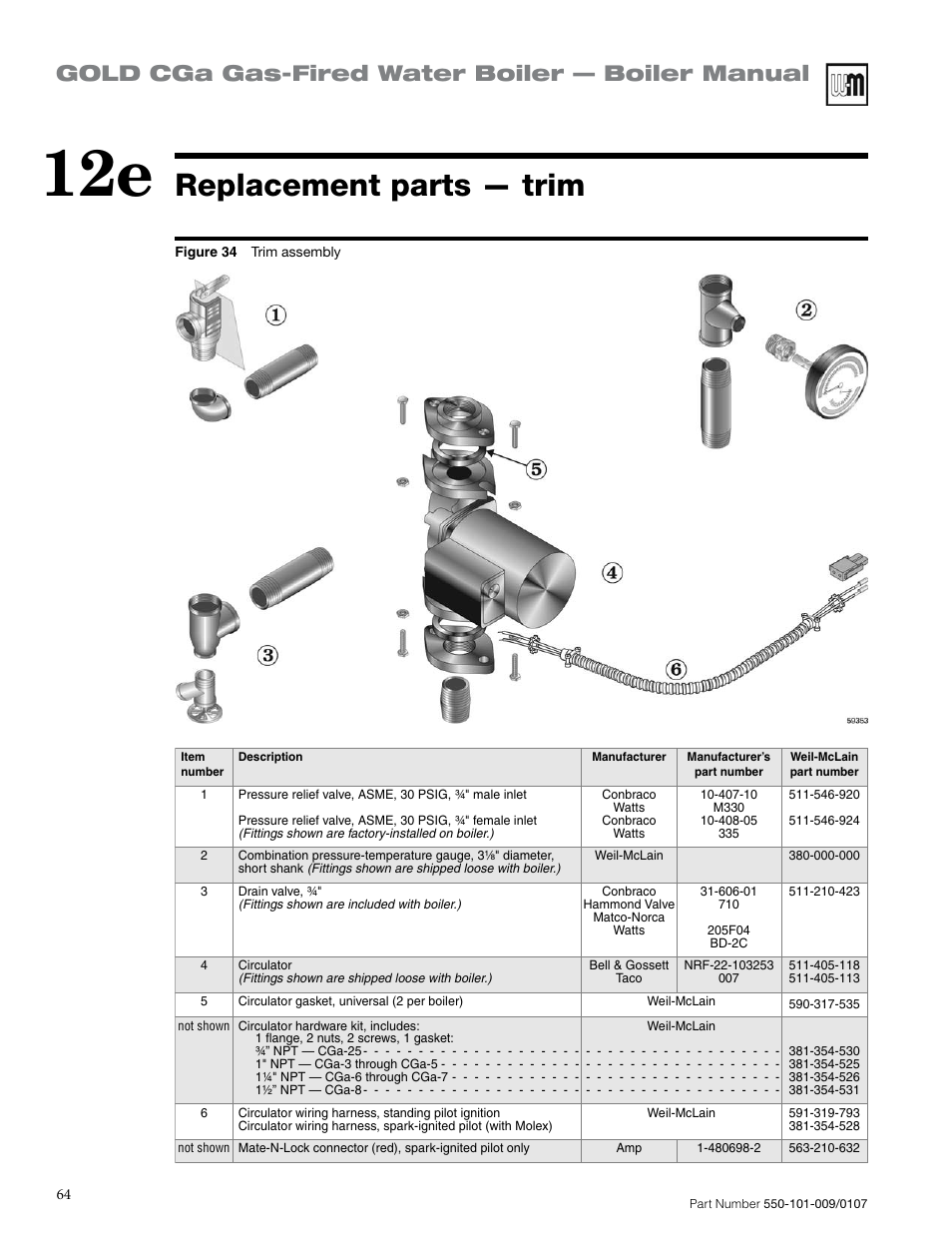 Replacement parts — trim, Gold cga gas-fired water boiler — boiler ...