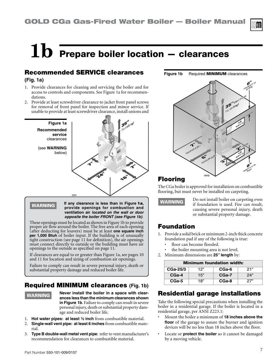 Prepare boiler location — clearances, Gold cga gas-fired water ...