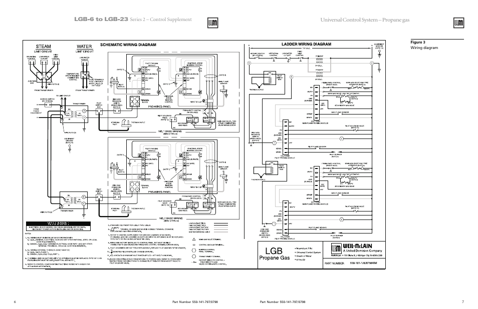 weil mclain series 2 lgb 7 page6 lgb 6 to lgb 23, universal control system propane gas, series 2 Steam Boiler Wiring Schematics PDF at mifinder.co