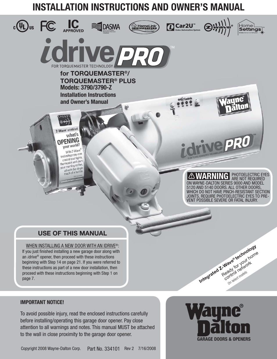 Wayne Dalton Idrive Pro 3790 Z User Manual 52 Pages Also For