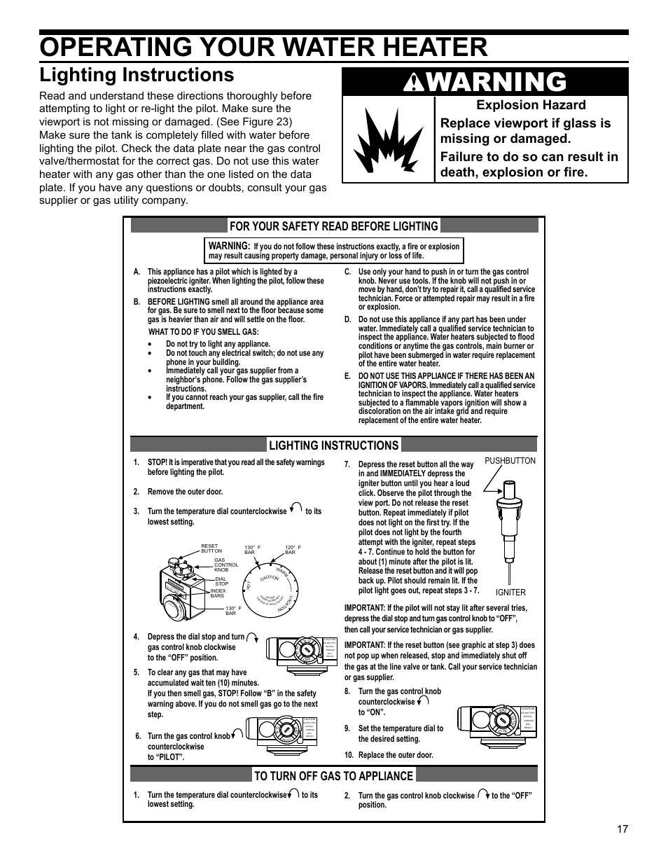 Operating your water heater, Lighting instructions, Warning | Ca t io n |  Whirlpool