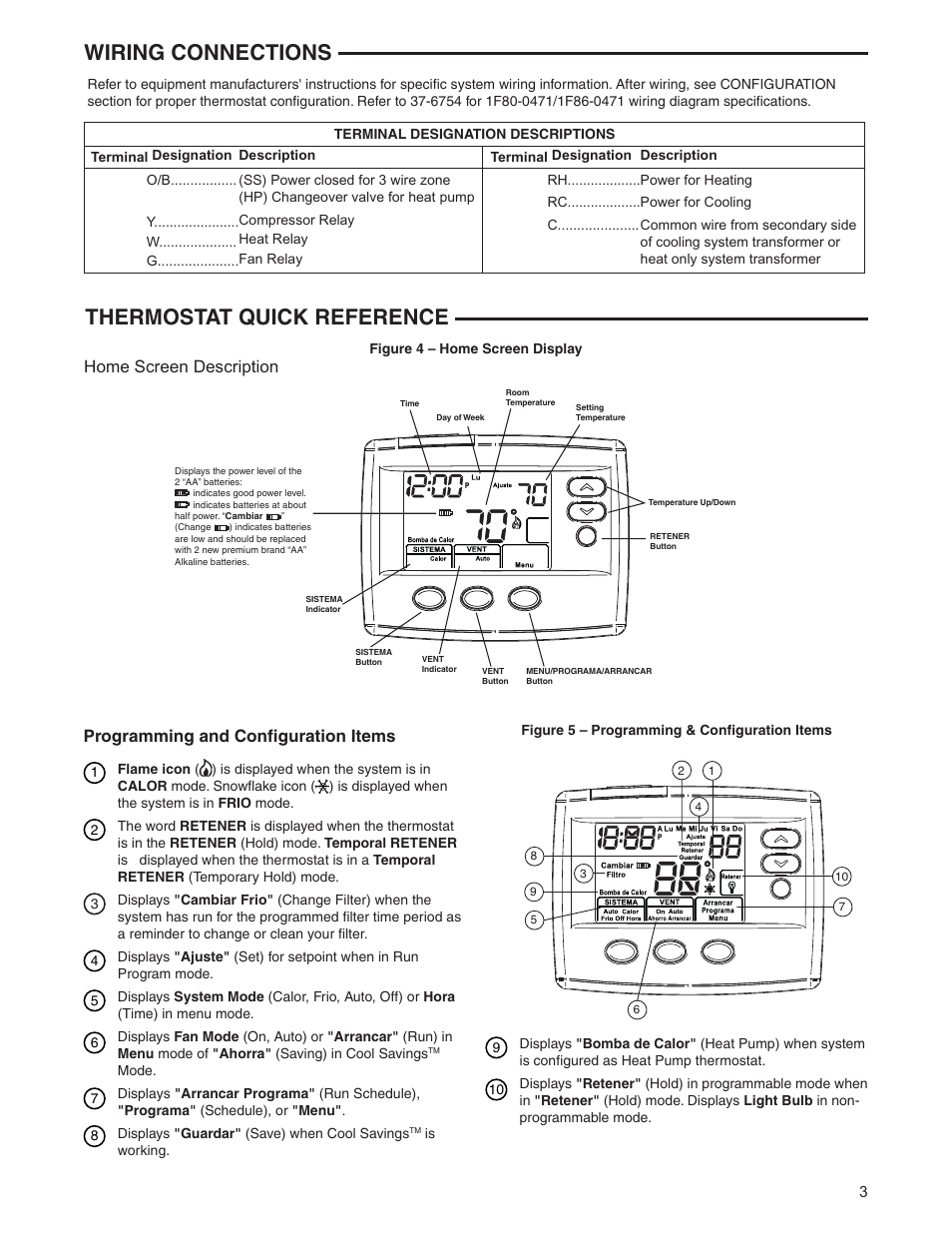 Thermostat Quick Reference Wiring Connections Home Screen Diagram White Rodgers Manuals Description 1f80st 0471 User Manual Page 3 8