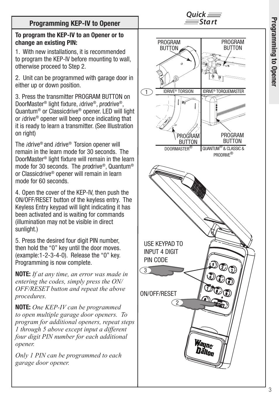 Quick Start Wayne Dalton Wireless Keyless Entry Kep Iv User Manual Garage Door Wiring Diagram Page