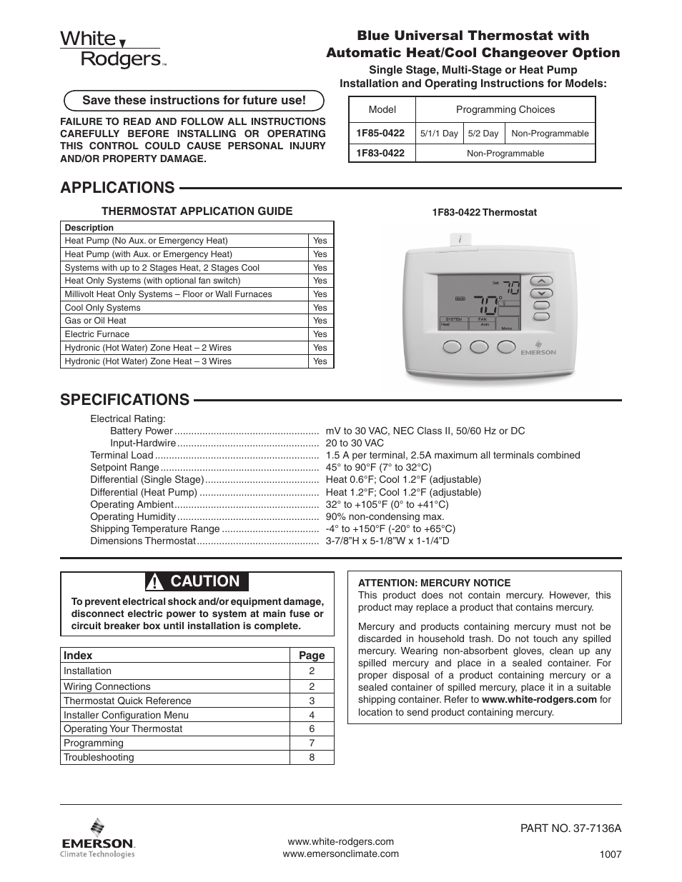 White Rodgers 1F85-0422 User Manual | 12 pages | Also for