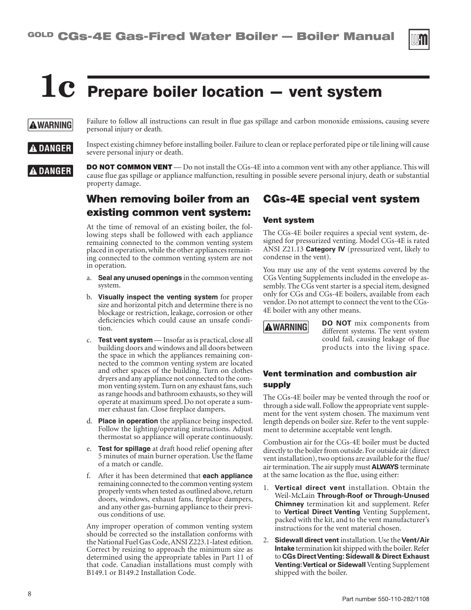 Prepare boiler location — vent system, Cgs-4e gas-fired water boiler ...