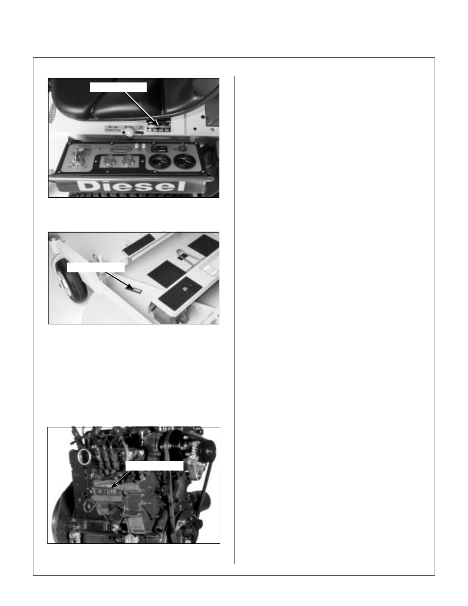 Tractor serial number location, Mower deck serial number location, Engine  serial number location   Walker MDD (20.9 HP) User Manual   Page 6 / 92