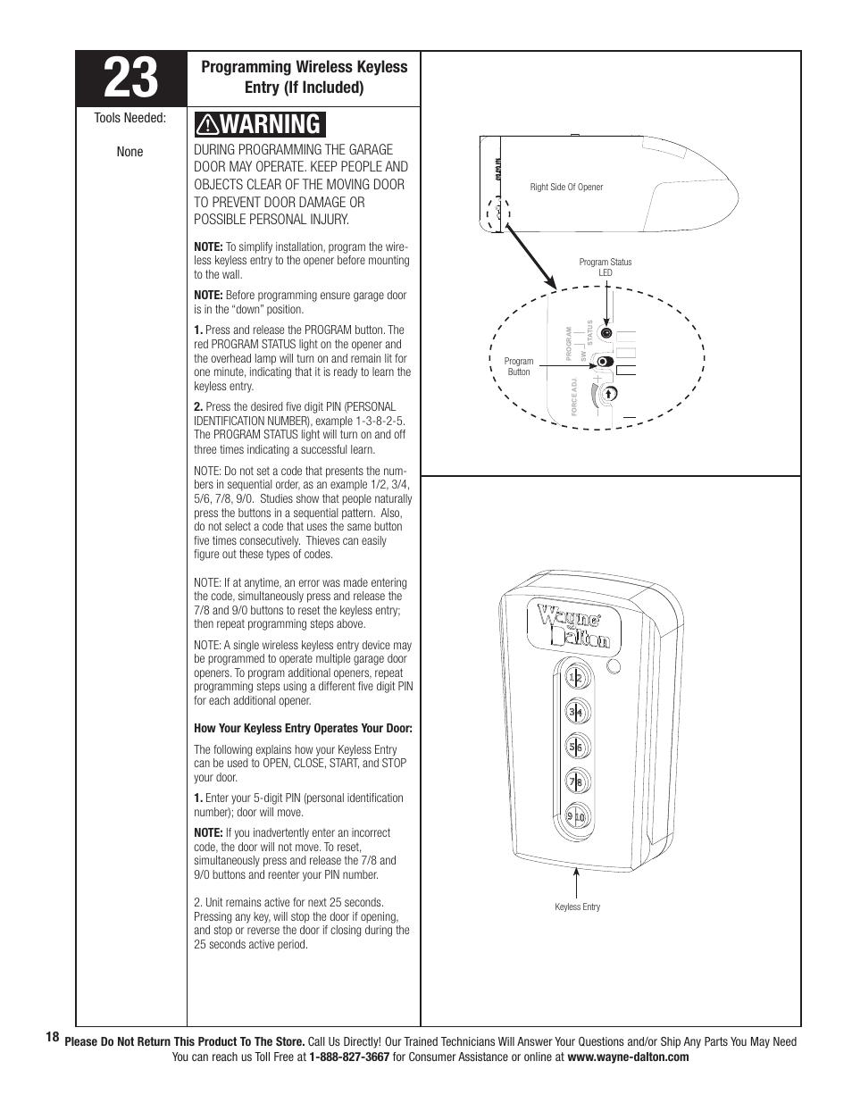 Warning, Programming wireless keyless entry (if included) | Wayne-Dalton  PRODRIVE 3221C-Z User Manual | Page 24 / 96