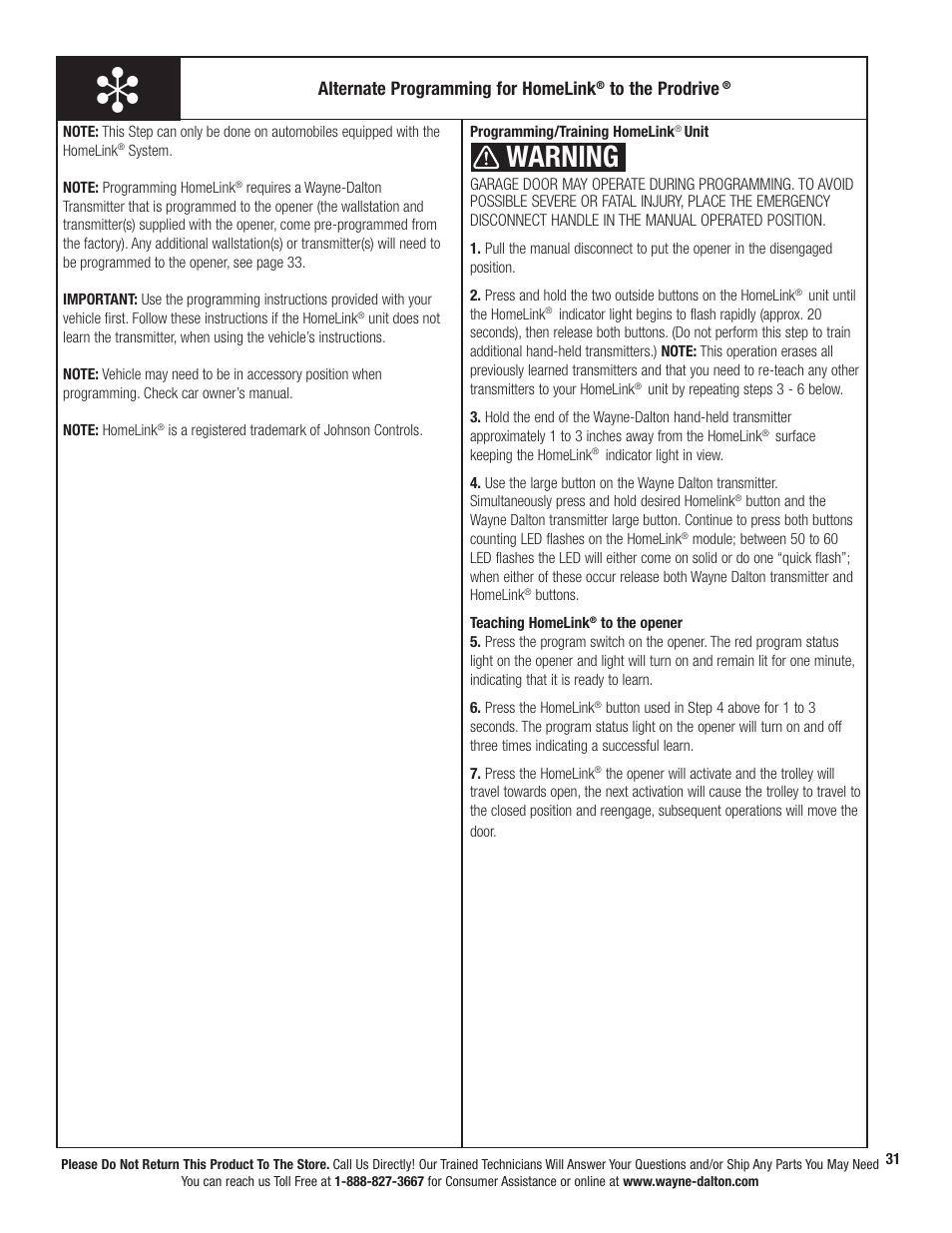 Warning Alternate Programming For Homelink Wayne Dalton Prodrive 3221c Z User Manual Page 37 96