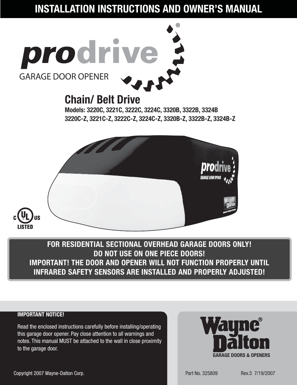 Wayne-Dalton PRODRIVE 3222C-Z User Manual | 48 pages | Also for ...